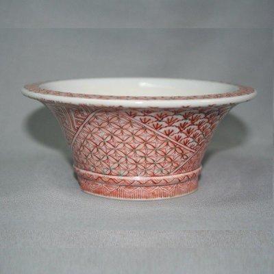 画像2: 九谷焼(瑛生)赤絵小紋4号丸鉢