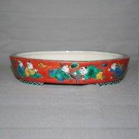 九谷焼(瑛生)唐子文様6号楕円鉢